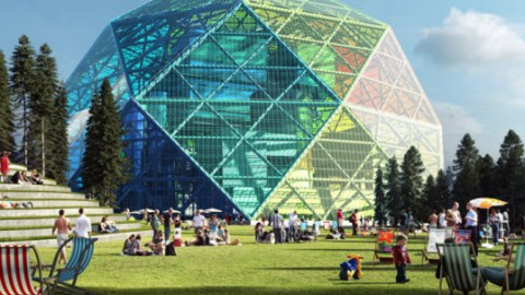 BIG Unveils a Luminescent Geodesic Dome Power Plant, and it's also a Public Park
