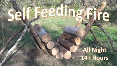 How to Make a Vertical, Self Feeding 14+ Hour Campfire (Video)