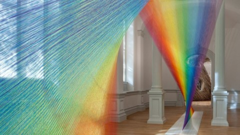 This Vibrant Rainbow Installation is Made with 60 Miles of Thread