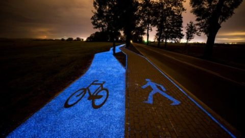 Polish Town Reveals a Sustainable and Functional Glow-in-the-Dark Bicycle Path (Solar Powered)