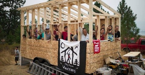 Natives Build Tiny Homes on Path of Trans Mountain Pipeline to Stop It